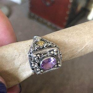 Jewelry - Hidden locket SS & amethyst ring